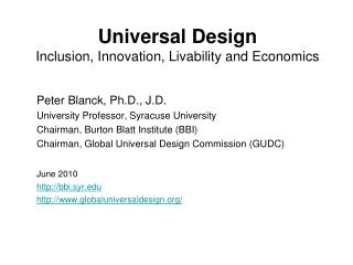 Universal Design Inclusion, Innovation, Livability and Economics