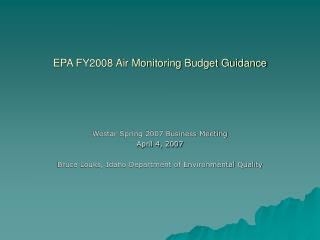 EPA FY2008 Air Monitoring Budget Guidance