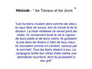 """Hésiode : """"les Travaux et les Jours """""""