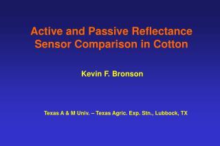 Active and Passive Reflectance Sensor Comparison in Cotton