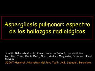 Aspergilosis pulmonar: espectro de los hallazgos radiológicos