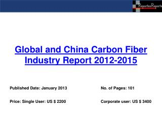 Global and China Carbon Fiber Industry Report 2012-2015