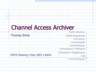 Channel Access Archiver