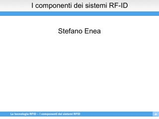 I componenti dei sistemi RF-ID