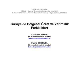 A.  Suut  DOGRUEL  Marmara  Universitesi ,  İstanbul suut.dogruel@marmara.tr Fatma  DOGRUEL