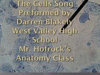 The Cells  Song Preformed by Darren Blakely West Valley High School Mr.  Hofrock's Anatomy Class