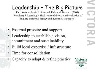 External pressure and support Leadership to establish a vision, commitment and sustainability