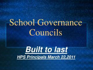 School Governance Councils