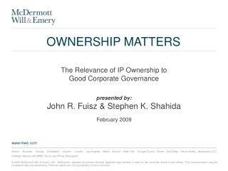 OWNERSHIP MATTERS