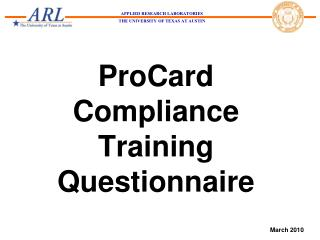 ProCard Compliance Training Questionnaire