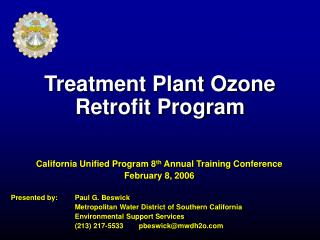Treatment Plant Ozone  Retrofit Program