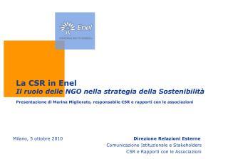 La CSR in Enel Il ruolo delle NGO nella strategia della Sostenibilità