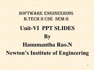 Software Engineering B.Tech Ii csE  Sem-II