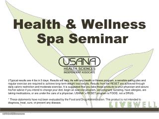 Health & Wellness Spa Seminar