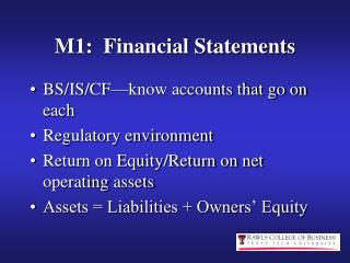 M1:  Financial Statements