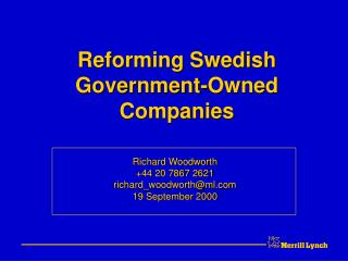 Reforming Swedish  Government-Owned  Companies