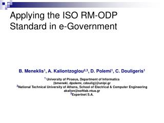 Applying the ISO RM-ODP Standard in e-Government