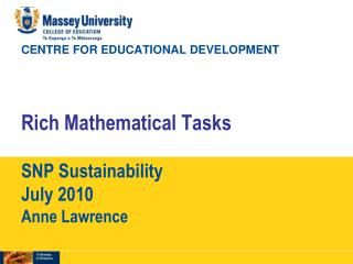 Rich mathematical tasks (RMTs)