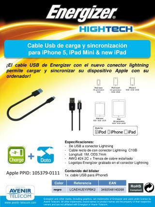 Cable Usb  de  carga  y  sincronización para iPhone 5,  iPad  Mini & new  iPad