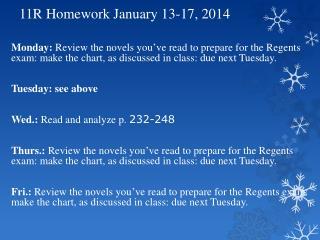 11R Homework January 13-17, 2014