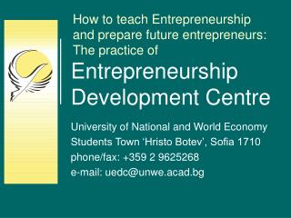 Entrepreneurship Development Centre