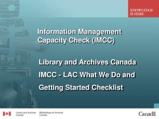 Information Management Capacity Check (IMCC)