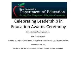 Celebrating Leadership in Education Awards Ceremony