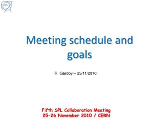 Meeting schedule and goals