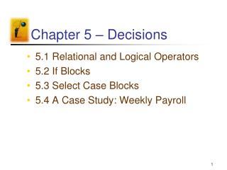 Chapter 5   Decisions