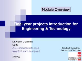 Final year projects introduction for  Engineering & Technology