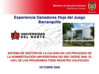 Experiencia Ganadores Hoja del Juego Barranquilla