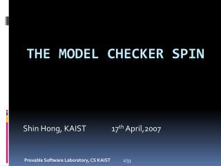 The Model Checker SPIN