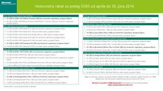 Hotovostný  rabat za predaj  O365  od  apríla do 30. júna 2014