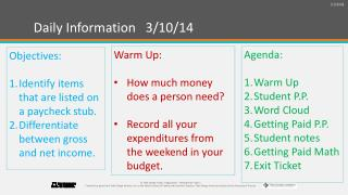 Daily Information   3/10/14