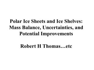 Estimating ice-sheet mass balance: techniques