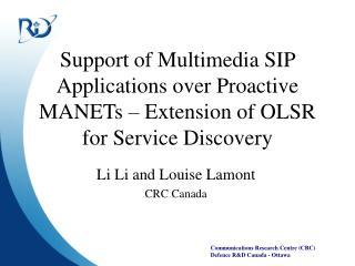 Li Li and Louise Lamont  CRC Canada