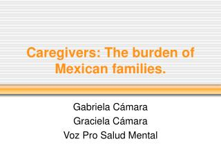 Caregivers: The burden of Mexican families.