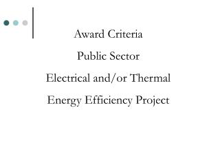 Award Criteria Public Sector  Electrical and