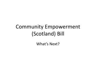 Community Empowerment (Scotland) Bill