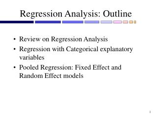 Regression Analysis: Outline