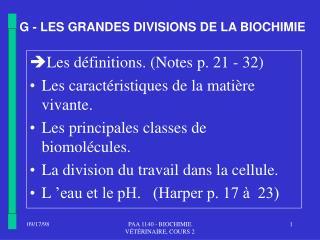 G - LES GRANDES DIVISIONS DE LA BIOCHIMIE