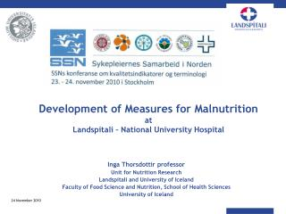 Development of Measures for Malnutrition  at  Landspitali   National University Hospital