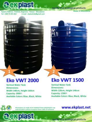 Eko VWT 2000 Vertical Water  Tank Dimensions :
