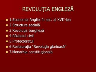 REVOLUŢIA ENGLEZĂ