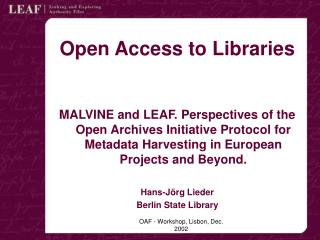 Open Access to Libraries