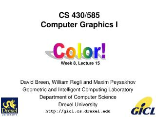 CS 430/585 Computer Graphics I Week 8, Lecture 15