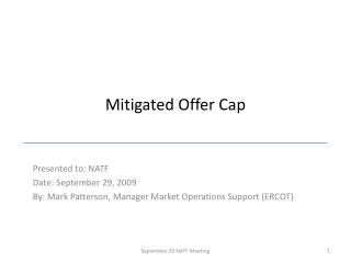Mitigated Offer Cap