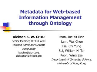 Metadata for Web-based Information Management through Ontology