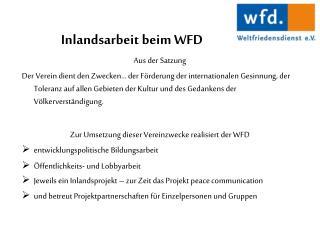 Inlandsarbeit beim WFD