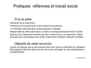 Pratiques  réflexives et travail social